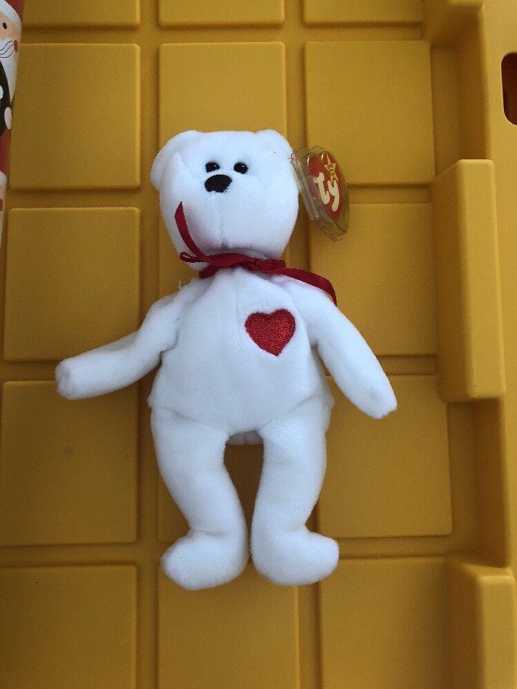 Seltene valentino 1994 original beanie baby, braune nase fehler tags.