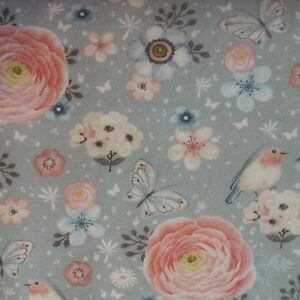 388eff7c7a0 Image is loading Floral-Birds-Digital-Print-Cotton-Elastane-Jersey-Fabric-