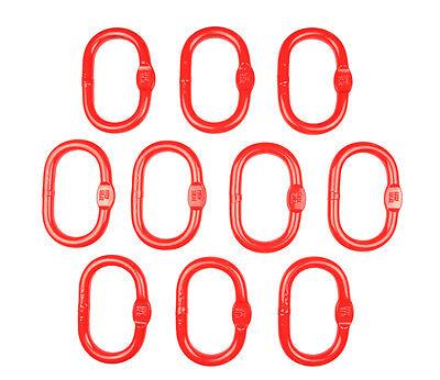 10 Stück Ovales Aufhängeglied Ring 8mm Tragkraft WLL 2T als Spar-Set rot
