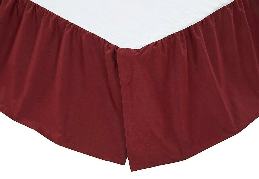 Gorgeous Solid Burgundy Bed Skirt 100% Cotton Platform Dust Ruffle Split Corner