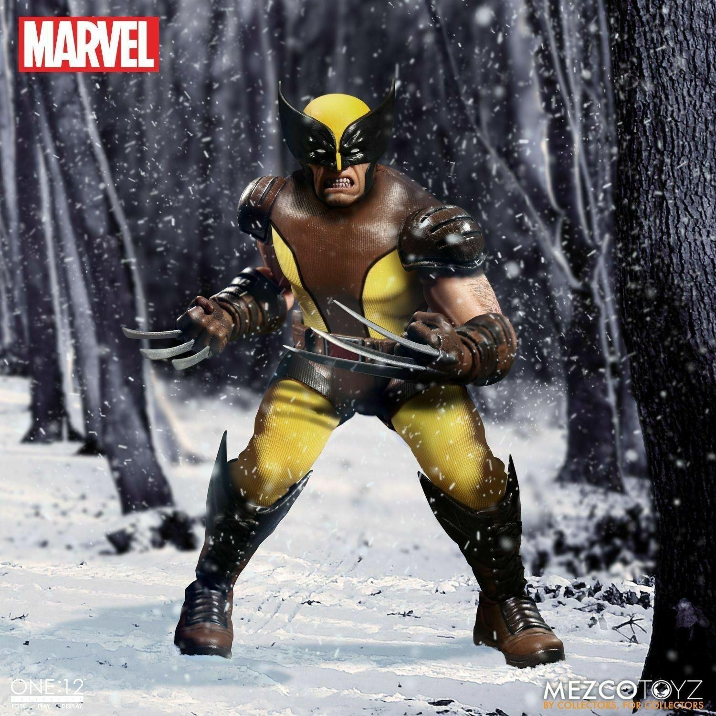 Mezco One 12 colectivo Marvel Wolverine Marrón Amarillo detallada figura de escala 1 12