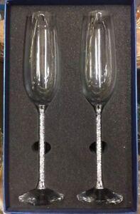 Uk New Champagne Flutes With Swarovski Crystal Filled Stem Set Of 2