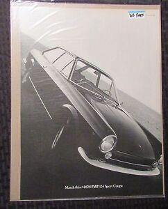 1968-FIAT-124-Sport-Coupe-10x13-034-Automobile-B-W-Print-Ad-FVF-7-0