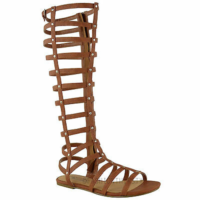 Women Knee High Gladiator Sandals Strappy Beach Shoes Cut Out Boots Size