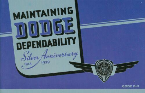 1939  DODGE PASSENGER CAR OWNER'S MANUAL