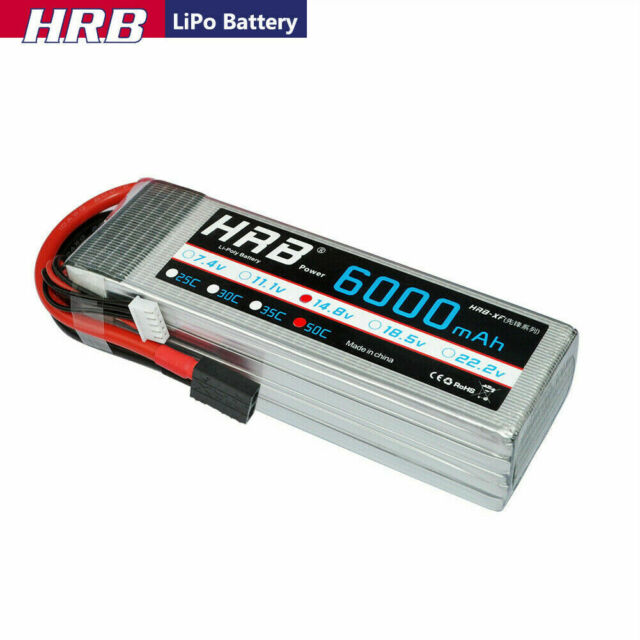 2pcs HRB 4S 6000mAh 14.8V 50C  LiPO Battery RC Airplane Helicopter Traxxas Truck