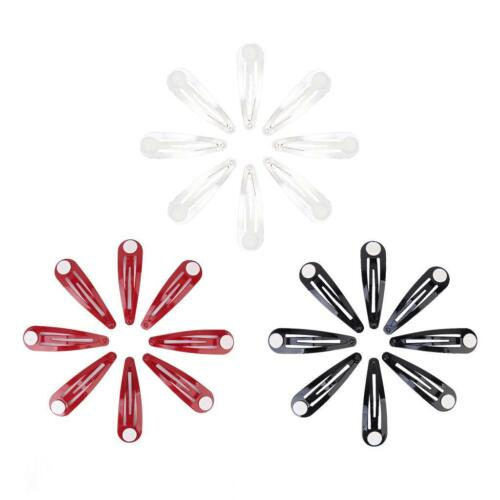 50 Metal Blank Snap Hair Clips with Glue Pad DIY Women Girls Hair Bow Barrettes