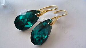 SOLID-STERLING-SILVER-925-EARRINGS-WITH-GENUINE-SWAROVSKI-CRYSTAL-BLUE-ZIRCON-AB