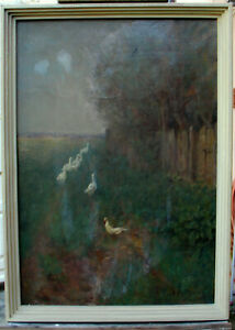 Paul-smear-campaign-1866-Chemnitz-1901-Munich-Oil-Painting-Cardboard-Spring-Animal-Duck-Landscape