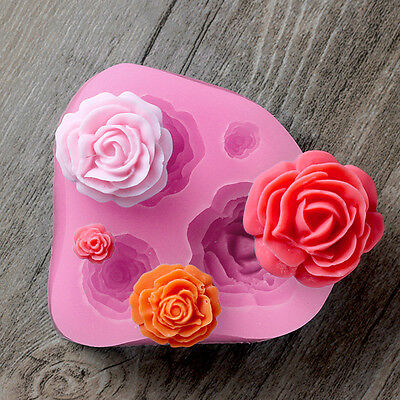 3D Silicone Rose Flower Fondant Cake Decorating Mold Chocolate Mould New