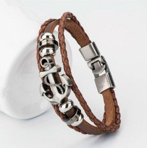 Bracelet noir marron en Cuir Ancre Homme Femme Leather Bracelet Anker Armband
