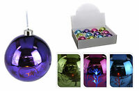 12 Real Glass Bright Colours LED Christmas Tree Decorations Light Up  Baubles
