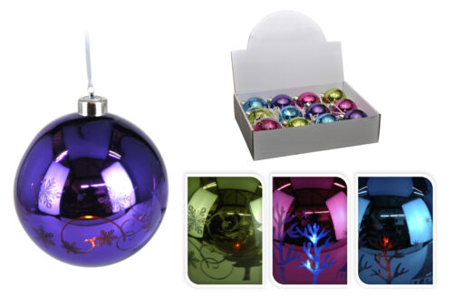 12 verre réel couleurs lumineuses led arbre de Noël décorations allumer Baubles
