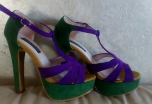 Used Tacco Verde Viola Pelle Usati Shoes Sandali 37 Scarpe Sandal Tulipano Donna IwxfyqAOYz
