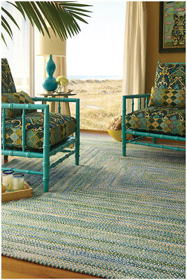 Capel Rugs Waterway Soft Cotton Chenille Concentric Braided Rug Deep Blue Sea