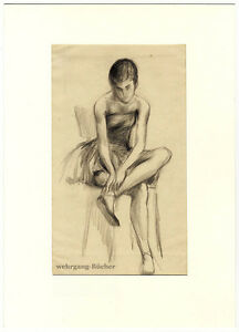 Ballerina-pencil-charcoal-drawing-from-ca-1950