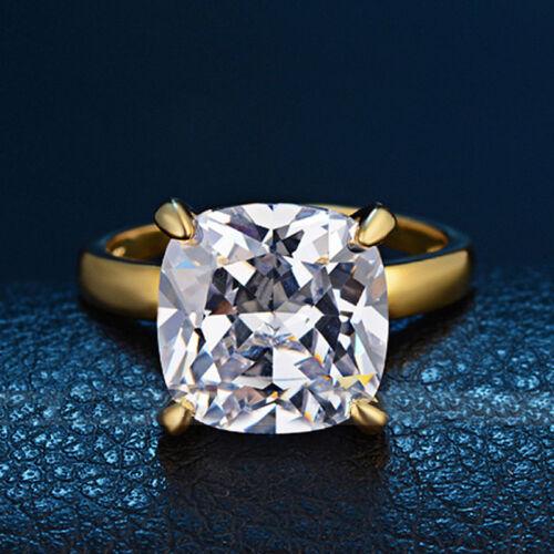18K Femmes Bague Mariage Fiançailles cristal plaqué or anneaux bijoux Taille 6-9 NEUF