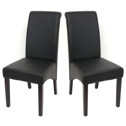 pies oscura 2x silla de comedor Cesena imitación cuero mate negro