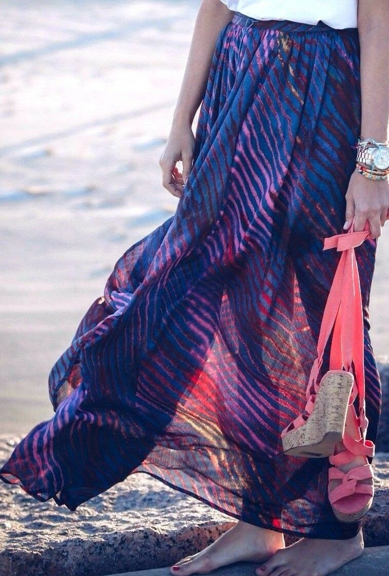 Free People True To You Maxi Skirt Sheer Striped High Waist Navy Pink OB568231