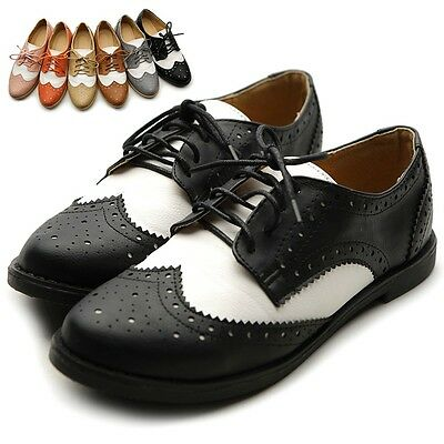 ollio Women Flat Loafer Wingtip Lace Up 2 Tone Oxford Shoes