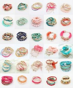 New-Design-Wholesale-Multilayer-Fashion-Lady-Party-Bracelet-Bangle-Set-Hot