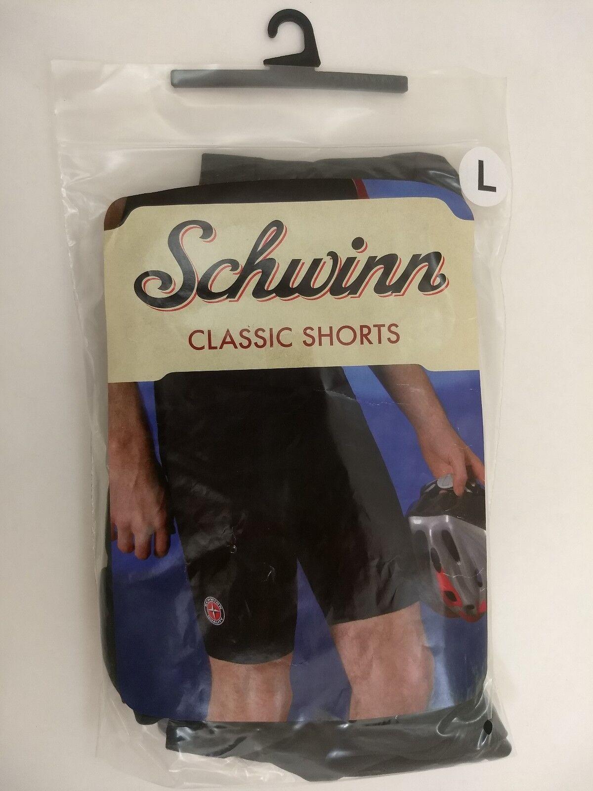Mens LARGE Schwinn Classic Bike Shorts Black Padded Cycling Spandex Polyester