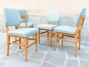 Dettagli su nr. 4 sedie vintage anni 50 legno curvo design scandinavo De Carli sky avio