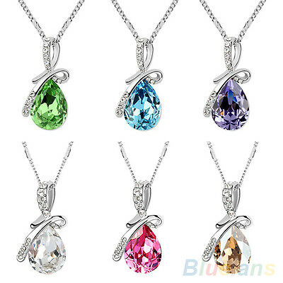 Splendid Austrian Crystal Teardrop Pendant Glamorous 14K Silver Plated Necklace