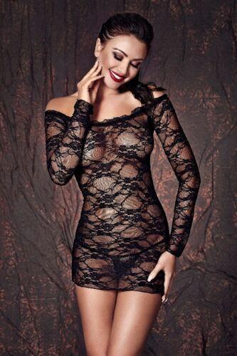 Déshabillé noir chemise de nuit Dentelle Robe Lingerie Lingerie De Nuit