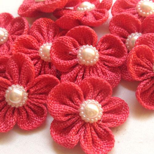 5//20//40 Pcs Big Ribbon Flower Bows with Pearl Bead Appliques//craft//Wedding decor