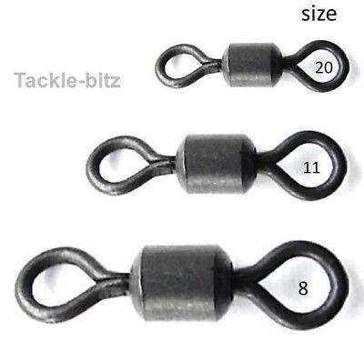 20 Size 8 Matt Black Swivels fit Fishing Tackle carp weight clips Hair rigs