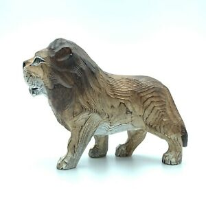Hand Carved Wood Wooden lion  Figurine
