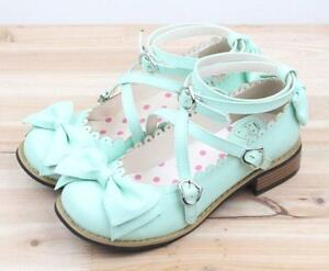 New-Womens-Bowtie-Flats-Brogue-Lolita-Girls-Princess-Cross-Strap-Shoes-Mary-Jane