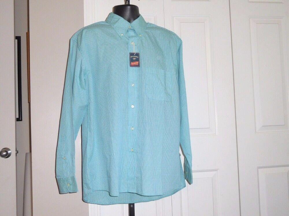 BILL'S KHAKIS Men's bluee Green & White NWT Dress Shirt 17 X 34 35 Cotton Blend