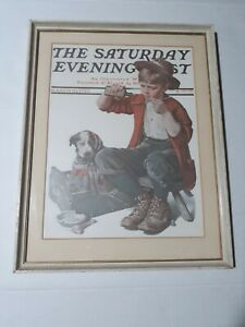 FRAMED NORMAN ROCKWELL PRINT THE SATURDAY EVENING POST MARCH 10, 1923. PREOWNED