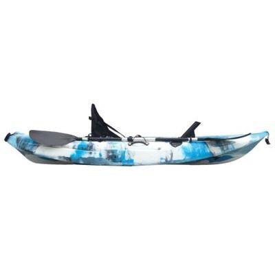 2.7M Fishing Kayak Single Sit-on 5 Rod Holders Padded Seat Paddle Aqua Blue