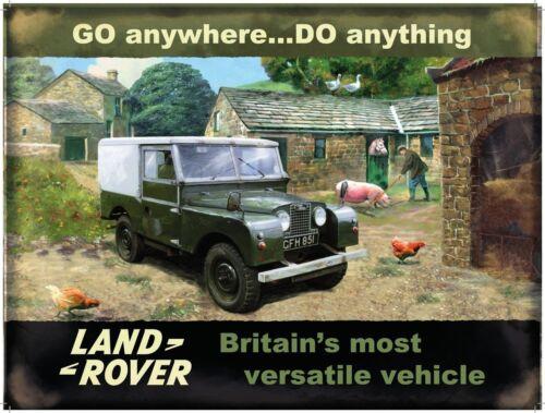 Classic Off Road 4x4 Car Medium Metal Tin Sign Picture Land Rover Mark 1 Farm