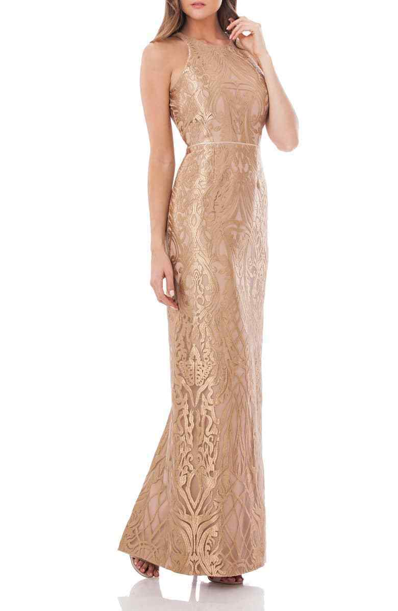 JS Collections Metallic Embroidered Halter Gown (size 14)