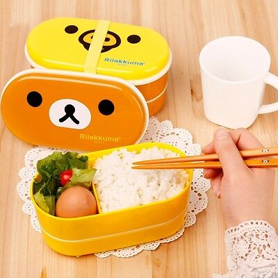 1x High Heat Resistance Cute Double Layers Plastic Bento Lunch Box + Chopsticks