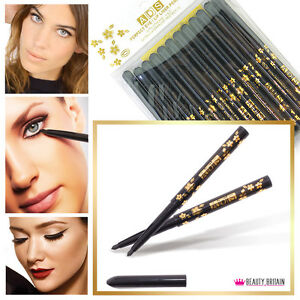 12 x BLACK EYELINER TWIST UP PENCILS PENS WATERPROOF WHOLESALE UK