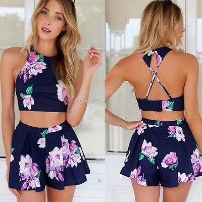 WOMENS Bandage Backless Floral Bodycon Playsuit Clubwear Jumpsuit Romper Trouser