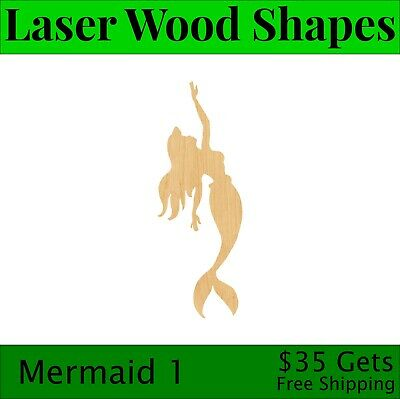 D.I.Y Mermaid 1 Wooden Laser Cut Out Shape Hobbyist Great for Crafting Projects