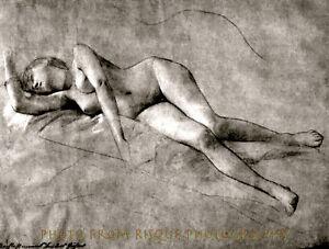 "Nude Woman Drawing 8.5x11"" Photo Print Gustav Klimt Fine Artwork Naked Female"