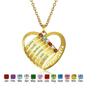 Personalized family name birthstone pendant necklace custom family image is loading personalized family name birthstone pendant necklace custom family aloadofball Images