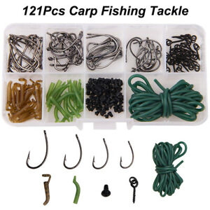 Carp-Fishing-Tackle-Accessories-Kit-Rig-Ring-Stops-Boilie-Bait-Screw-Hook-Sleeve