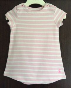 Joules-Pink-amp-White-Striped-Jersey-Dress-Age-9-12-Months