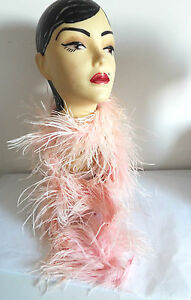 VINTAGE-1950-039-s-Genuine-All-Feather-BOA-in-Pink-long-80-inch-length