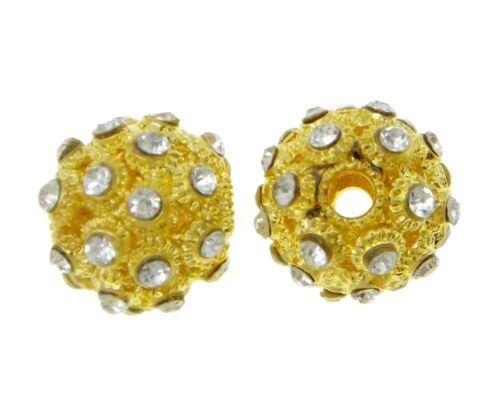2 de latón metal aproximadamente perlas 16mm oro spacer pedrería bricolaje DIY m164
