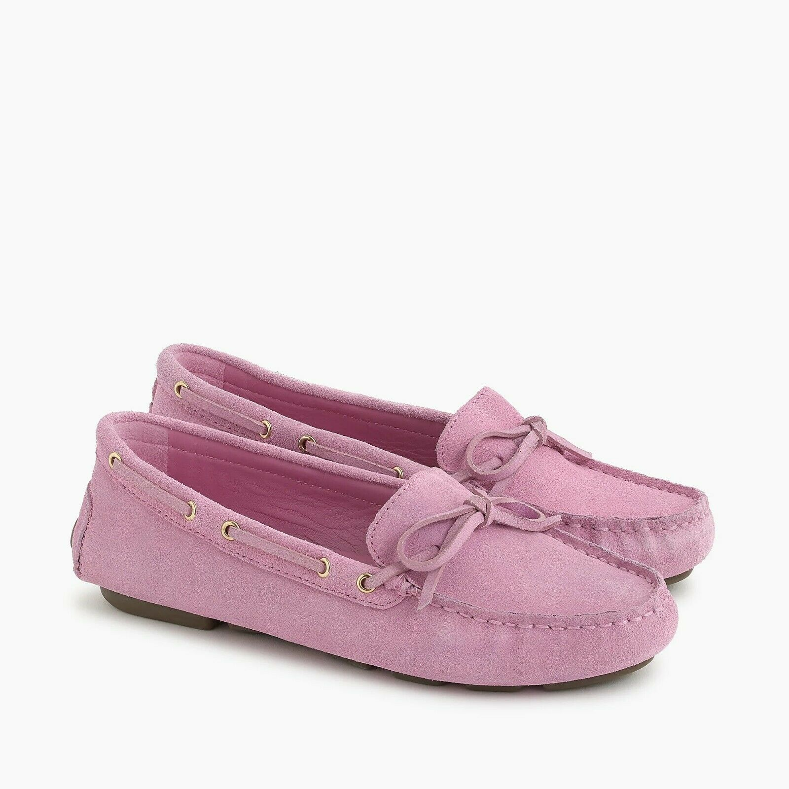 J. Crew Wouomo NIB Driving Moccasins in Suede -Sundrenched Peony - Dimensione 7.5