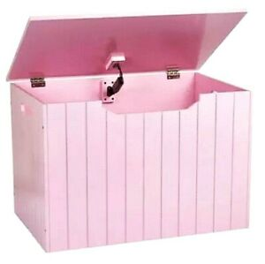 Panelled Wooden Toy Chest Bench Box Storage Unit Pink Already